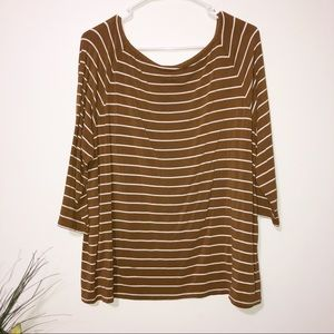 Chicos brown and cream striped quarter sleeve top